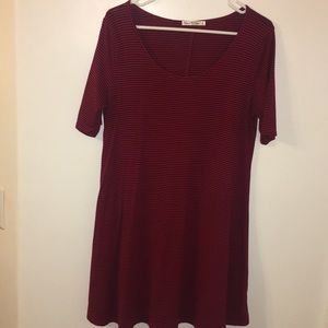 Deep Red/burgundy and Black Striped Swing Dress